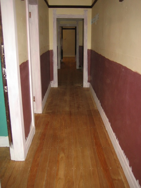 The newly sanded original floorboards - pretty good condition considering their age