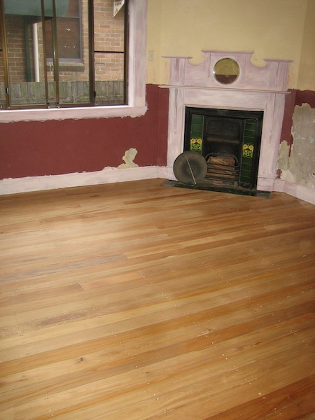 Newly exposed boards in the lounge