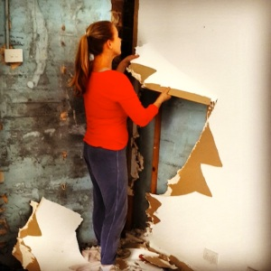 Ripping out the plasterboard on the common wall